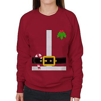 Christmas Santa Belt Buckle Candy Cane Women's Sweatshirt