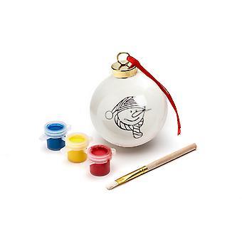 TRIXES DIY snögubbe julgranskula med 3PC färg och pensel hängande Xmas dekoration