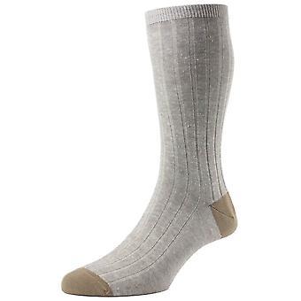 Pantherella Hamada Contrast Heel and Toe Linen Blend Socks - Linen Beige