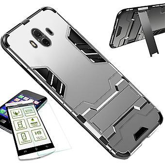 Per Apple iPhone XS MAX 6.5 pollici custodia in metallo argento in silicone TPU stile ibrido + 0,26 mm 2,5 d H9 temperato di vetro Borsa Custodia cover custodia