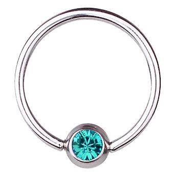 BCR Titanium Piercing, Ball Closure Ring 1,2 mm, SWAROVSKI ELEMENTS Aqua | 6-12
