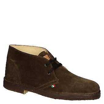 Dark brown suede leather men's chukka boots handmade