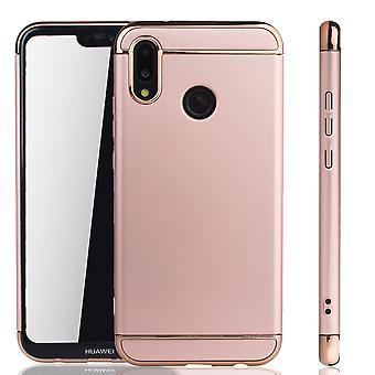 Celular capa case para Huawei P20 Lite 3 para-choques em 1 tampa cromo rosa ouro