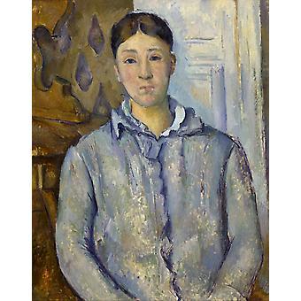 Madame Cezanne in Blue, Paul Cezanne, 50x40cm