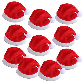 TRIXES Pack of 10 Mini Santa Hats for Champagne Flute Glasses Festive Decoration