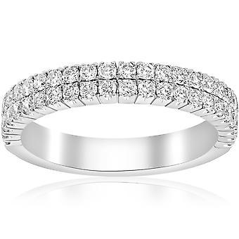 3 / 4ct diament Double Row wieżowych wieczności 1/2 pierścień 18k białe złoto