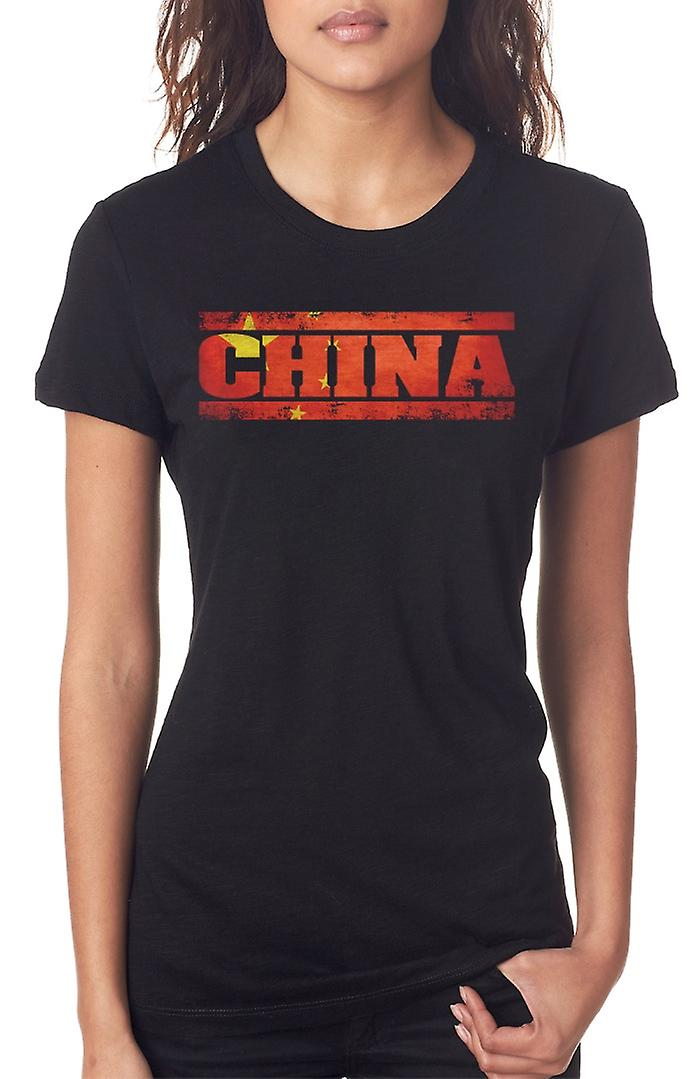 Chinese China Flag - Words Ladies T Shirt