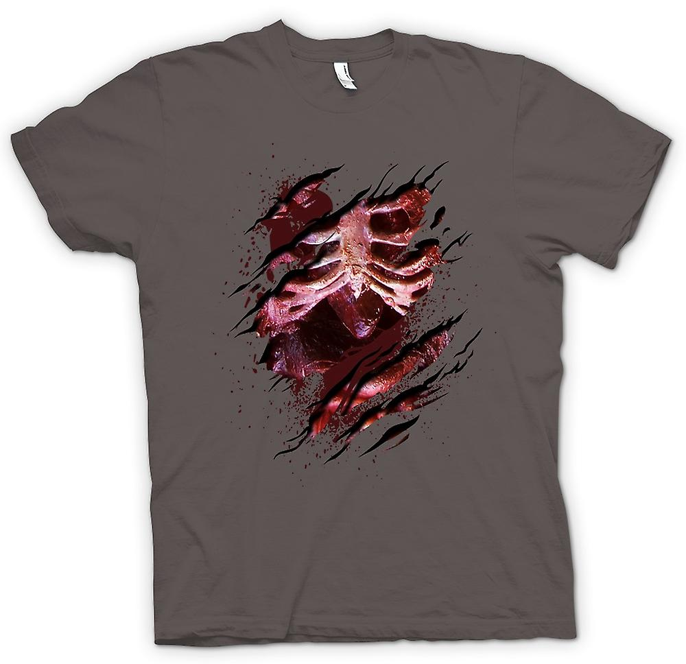 Womens T-shirt - Zombie Skeleton Undead  Heart Ripped Design