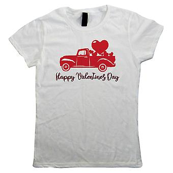 Happy Valentines Day, Pickup Truck Hearts, Womens T Shirt