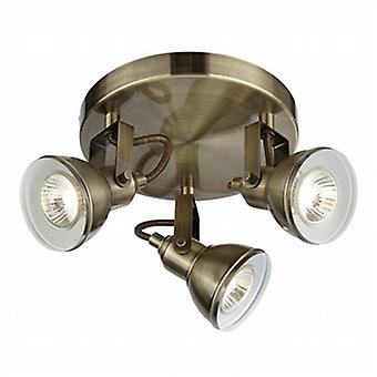 1543AB Focus Antique Brass 3 Light Spotlight