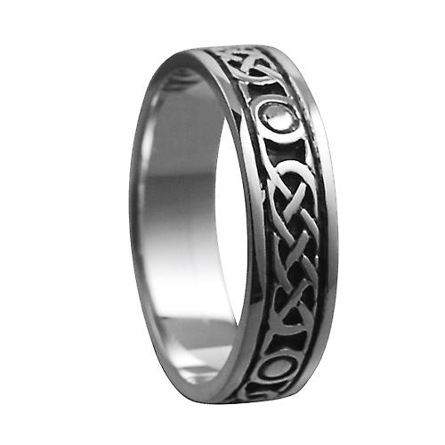 Silver oxidized 6mm Celtic Wedding Ring