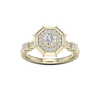 DE COUER 3/4Ct TDW Diamond 14k Yellow Gold Octagonal Frame Halo Engagement Ring (I-J, I2)