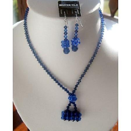 Sapphire Swarovski Crystals w/ Purse Pendant Necklace Set