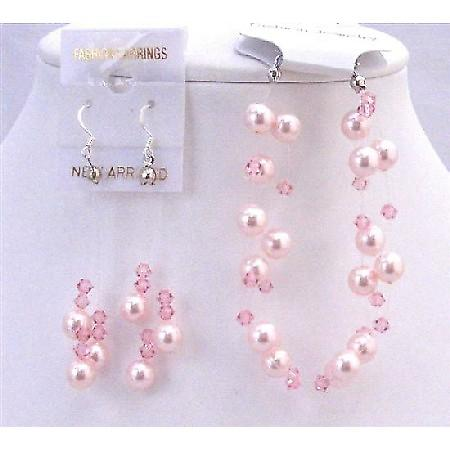 Swarovski Rose Pearls Pale Pink Crystal Two Stranded Bracelet Earrings