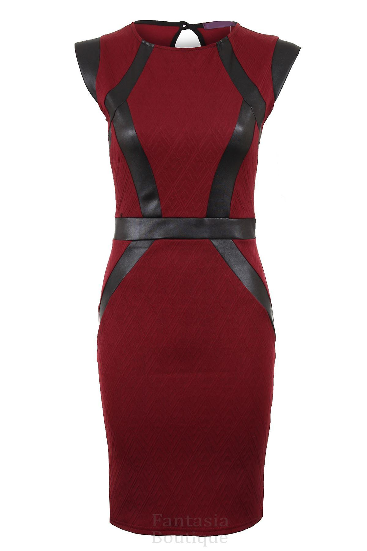 Ladies Quilted Textured PVC Strip Panel Slim Stretch Bodycon Short Women's Dress
