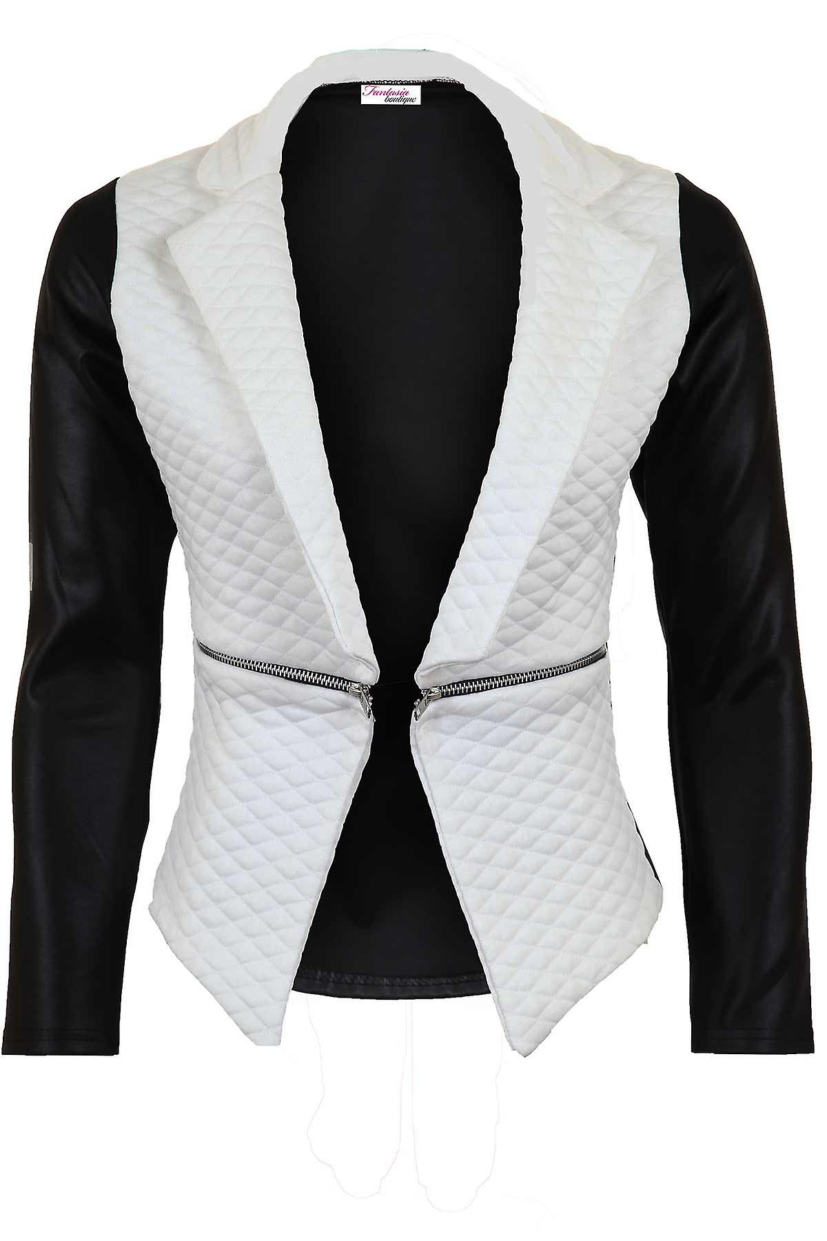 Ladies Quilted PVC Wet Look Long Sleeve High Low Zip Women's Jacket Blazer
