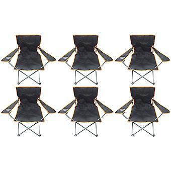 6 Black & Orange Lekkie składane Beach kapitanów krzesła Camping