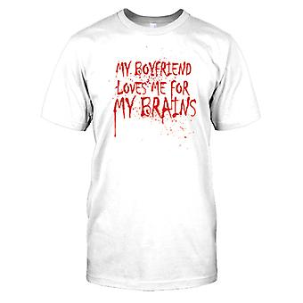 My Boyfriend Loves Me For My Brains - Funny Mens T Shirt