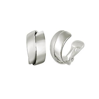 Eternal Collection Clevedon Silver Tone Twist Half Hoop Clip On Earrings