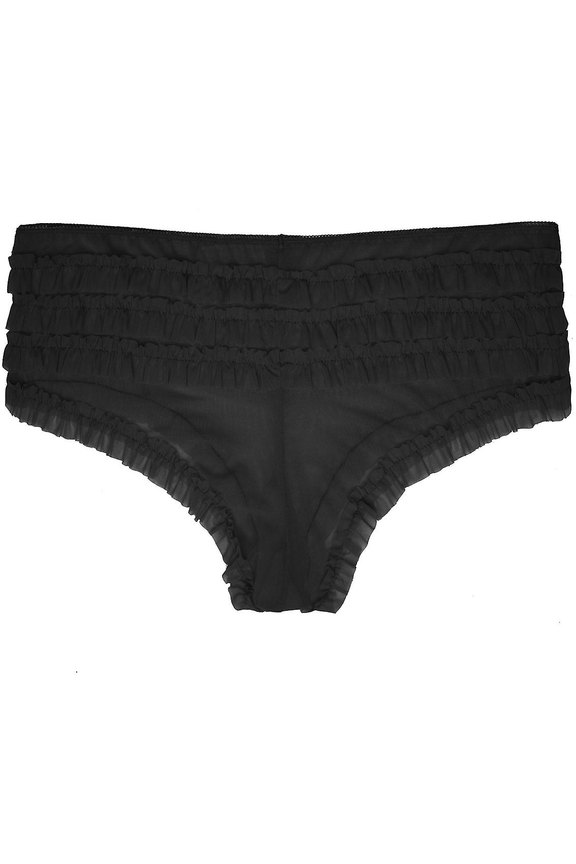 Black Frilly Mesh Brief