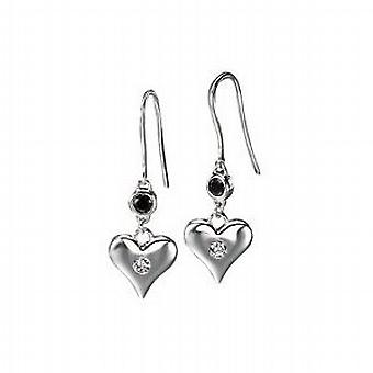 Elements Heart Drop Black & Earrings in 925 Silver