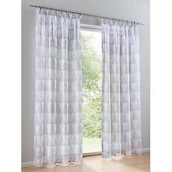 Heine Home 2 set semi-transparent decostore curtain in taupe/colorful printed universal folding tape with light shine