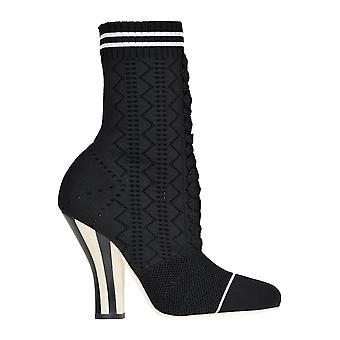 Fendi Black Fabric Ankle Boots