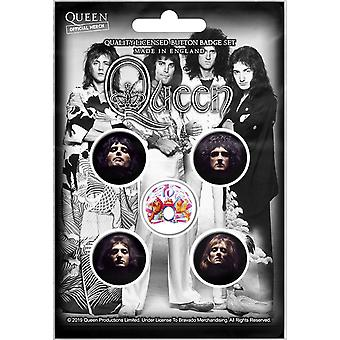 Queen Faces 5 Pin Badges in Pack (rz)