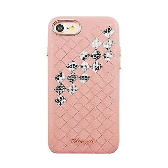 Leather iPhone 8/7 Case Pearl Pink Snake Weave Hard Shell