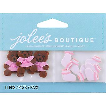 Jolee's By You Large Dimensional Embellishment Baby Girl Bear And Booties E5000442