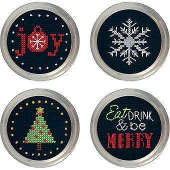 Holiday Cheer Jar Topper Counted Cross Stitch Kit-Set Of 4 70-08942