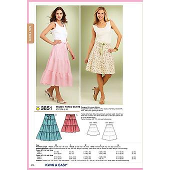 Tiered Skirts  Xs  S  M  L  Xl Pattern K3851