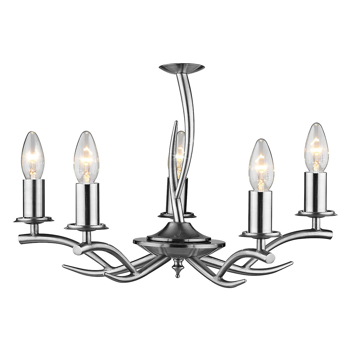 Dar ELK0546 Elka Modern Chrome 5 Arm Double Insulated Ceiling Pendant