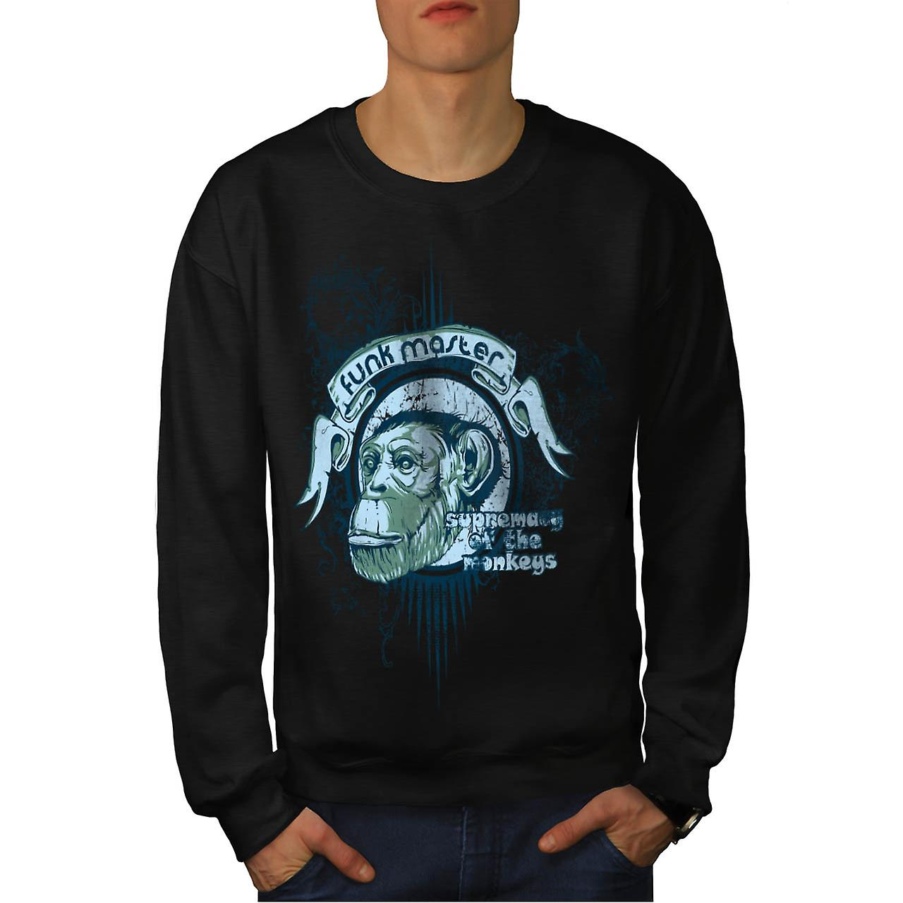 Funk Master Monkey Supreme Ape Men Black Sweatshirt | Wellcoda