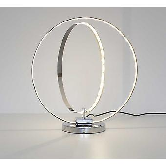 LED table lamp 2Rings with touch dimmer, rotatable ring, chrome & stainless steel, 14 W, warm white