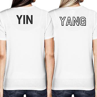 Asiatische Yin und Yang, die passenden besten Freund BFF Frauen weißes T-shirt zurück Drucken