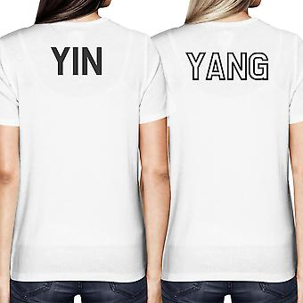 Asian Yin and Yang Matching Best Friend BFF Women's White T-shirt Back Print