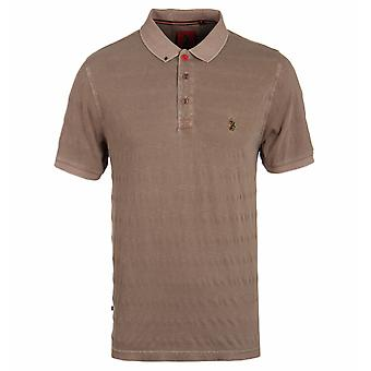 Luke 1977 Jive Khaki Sand Textured Stripe Short Sleeve Polo Shirt