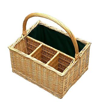 3 Bottle with Green Lining Picnic Basket