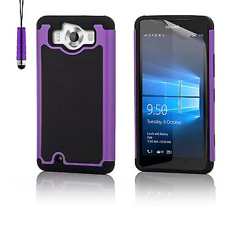 Shock proof case + stylus for Microsoft Lumia 950 - Purple