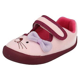 Infantil niñas Clarks máquina lavables zapatillas Shilo caramelo