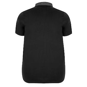 Black Polo Shirt With Contrast Printed Collar