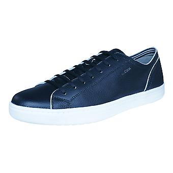 Geox U Ricky B Mens Leather Trainers / Shoes - Black