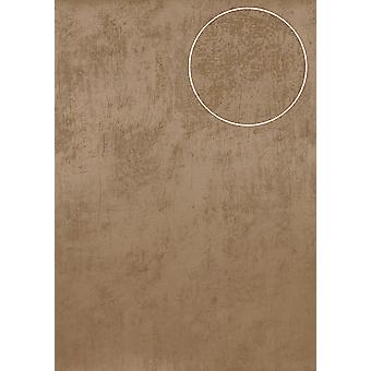 Uni wallpaper Atlas TEM-5113-2 non-woven wallpaper smooth with spatula look and metallic effect beige cappuccino perl-beige grey beige 7,035 m2