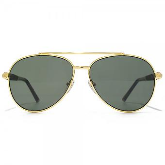 Montblanc Wooden Temple Pilot Sunglasses In Gold