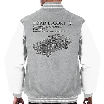 Haynes Workshop handmatige Ford Escort 1300 zwarte mannen Varsity Jacket