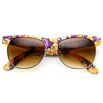 Womens Fashion Floral Print Flower Half Frame Horn Rimmed Sunglasses