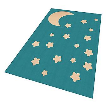 Design suede play mat for kids Moon and Star Blue 140 x 200 cm