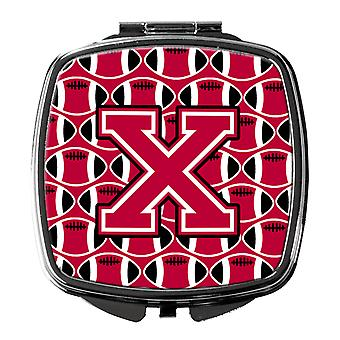 Letter X Football Crimson and White Compact Mirror