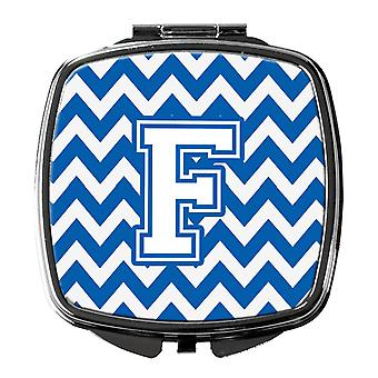 Carolines Treasures  CJ1045-FSCM Letter F Chevron Blue and White Compact Mirror